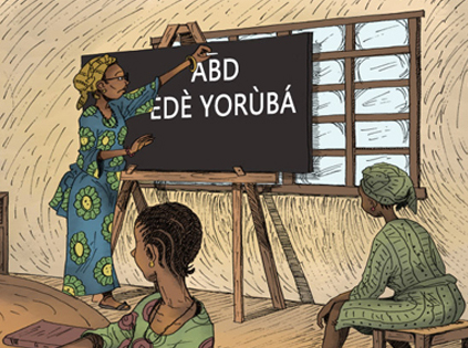 Foto: Utdrag från den digitala serieremsan Funmilayo Ransome-Kuti. Illustration av Alaba Onajin © UNESCO