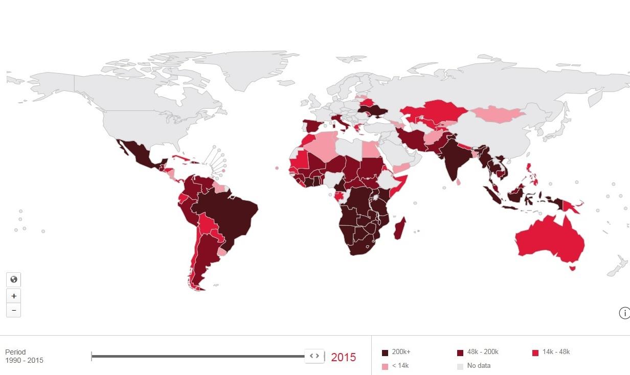 Personer i världen som lever med hiv i olika röda nyanser där mörk betyder fler personer