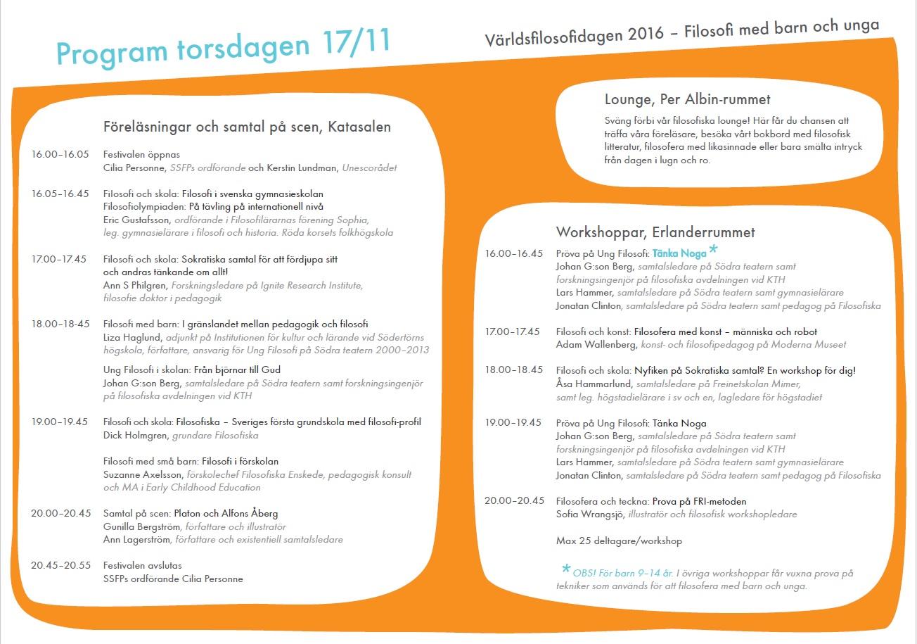 Program för världsfilosofidagen 2016