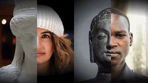 Bild på statyer och personer