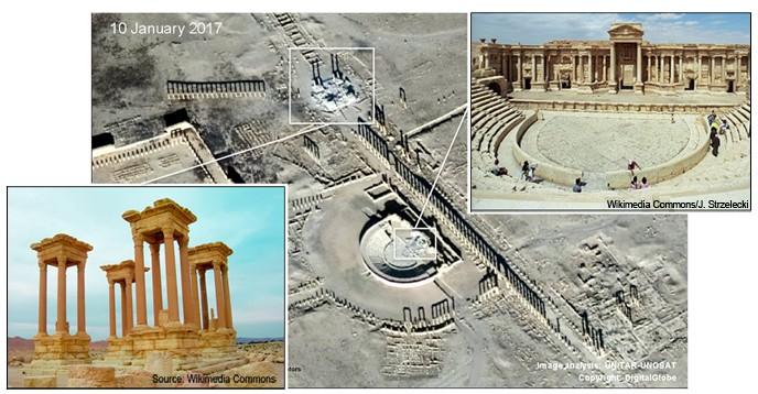 Satellitbilder på förstörelse av tetrapylonen och teatern i Palmyra