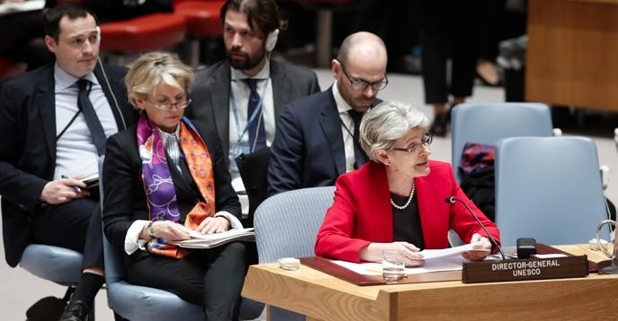 Unescos generaldirektör Irina Bokova talar vid sammanträdet för FN:s säkerhetsråd