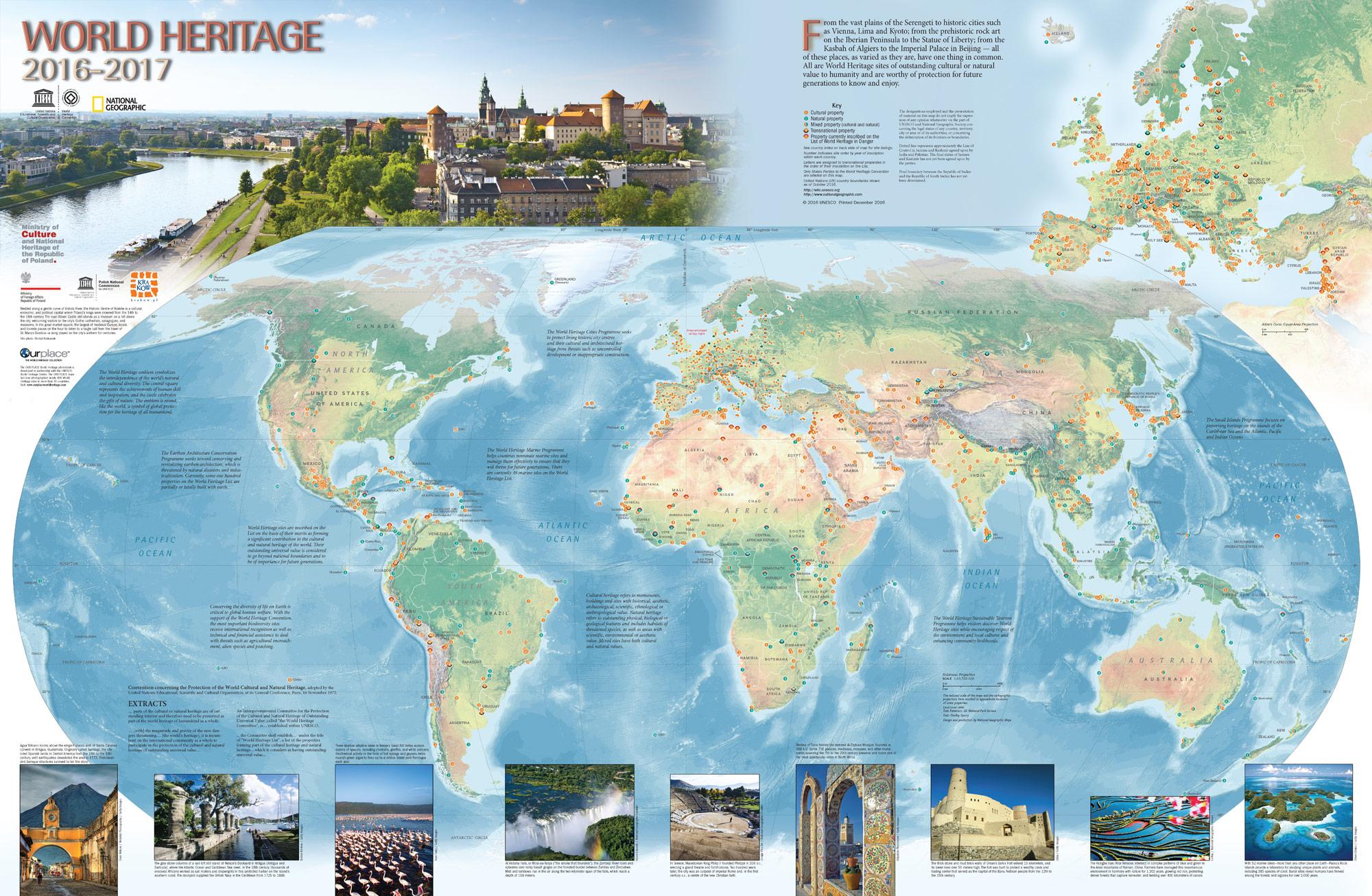 Bild på världskarta där Unescos världsarv är utmarkerade